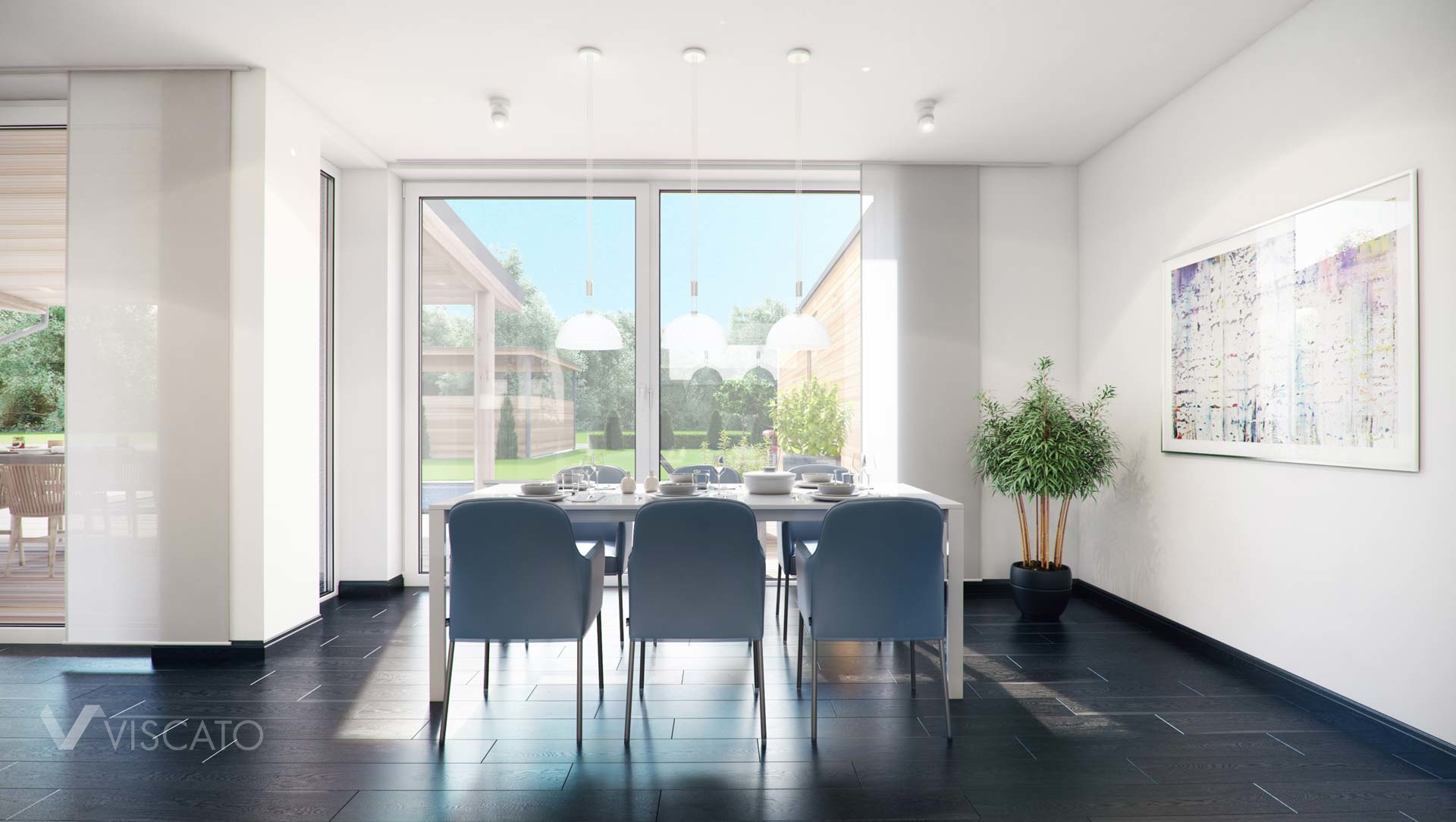 3d visualisation of a dining room with a garden view