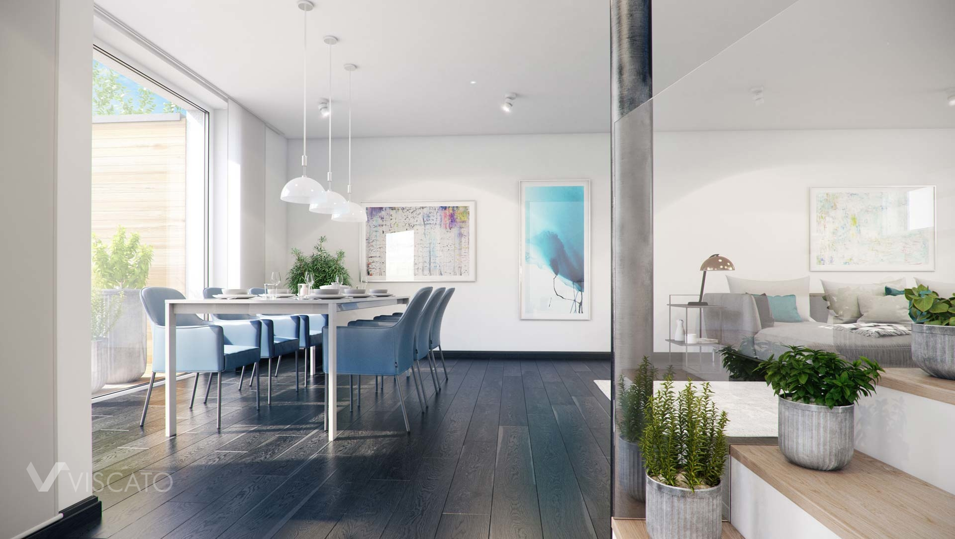 3d visualisation of a dining room