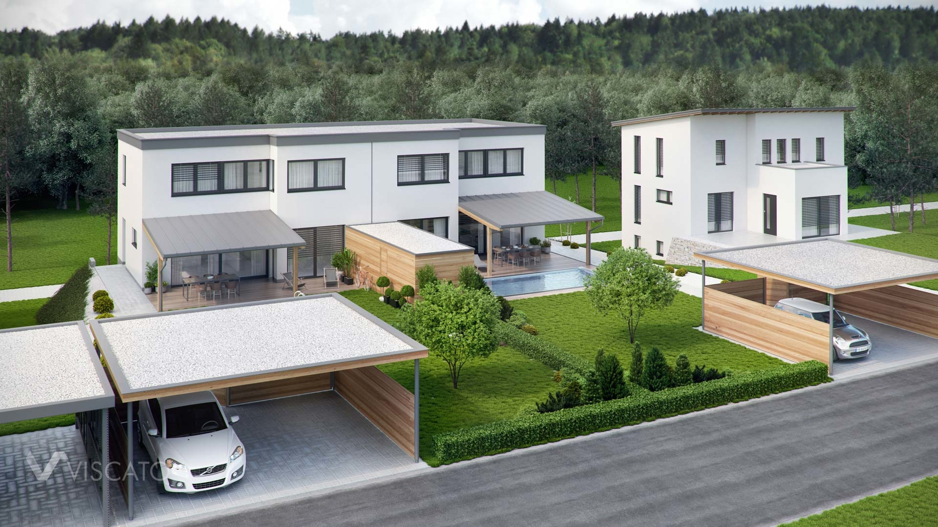 3D visualisation of a modern duplex house- front view