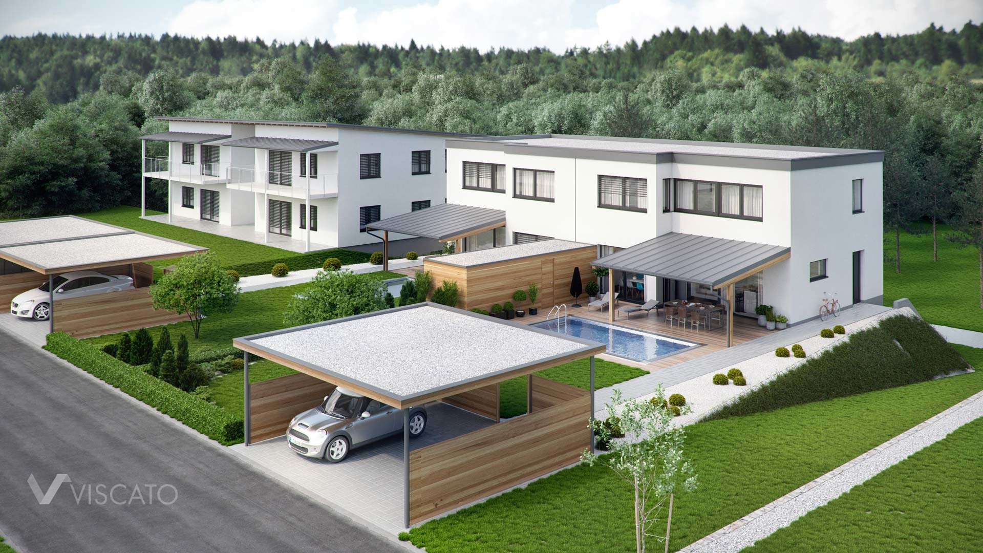 Grey and white duplex house- 3D exterior visualisation