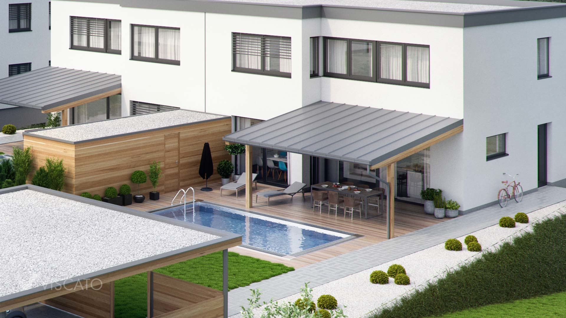 3d exterior visualisation of a house with a pool