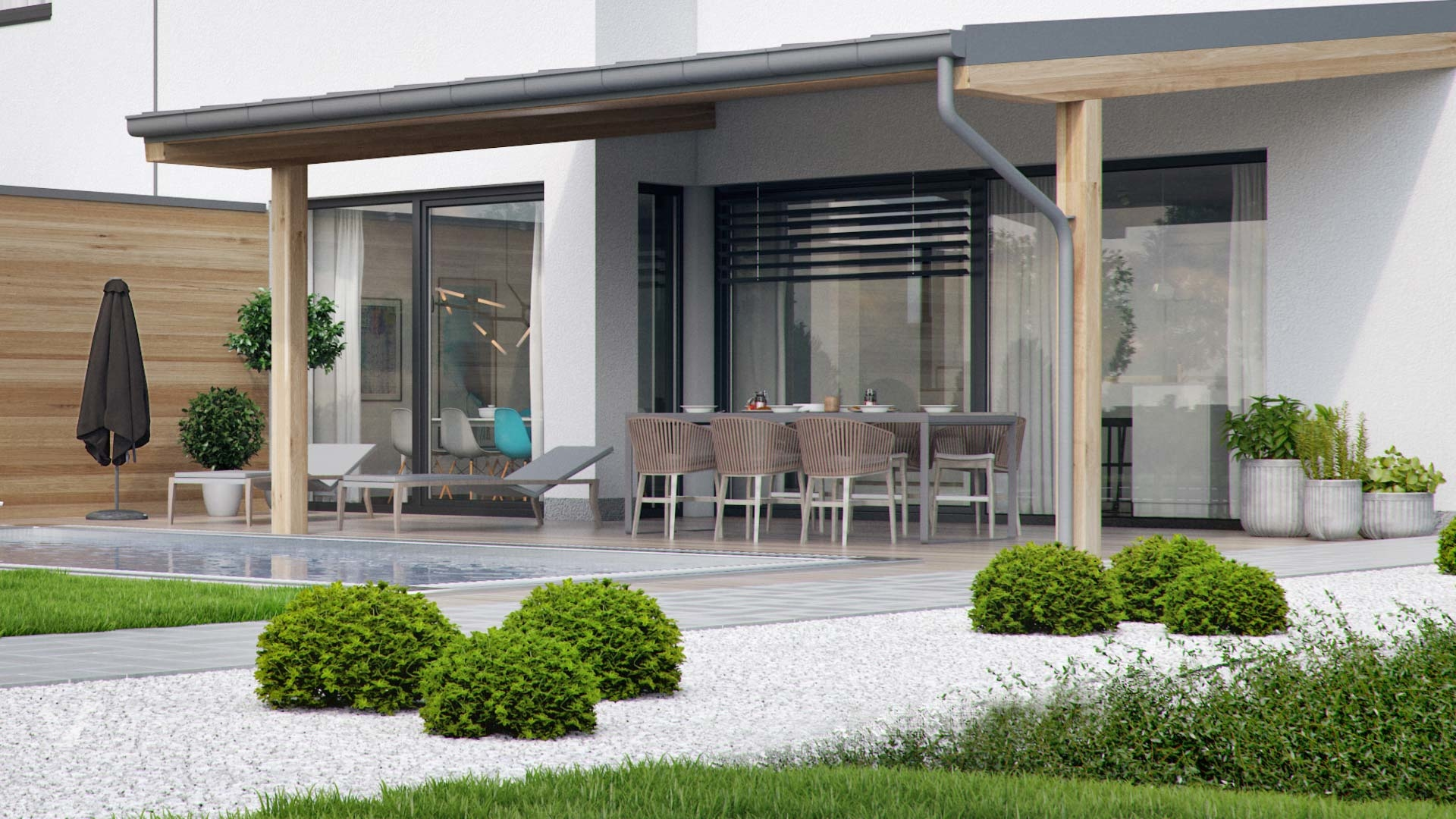 3d exterior visualisation of a house- garden view