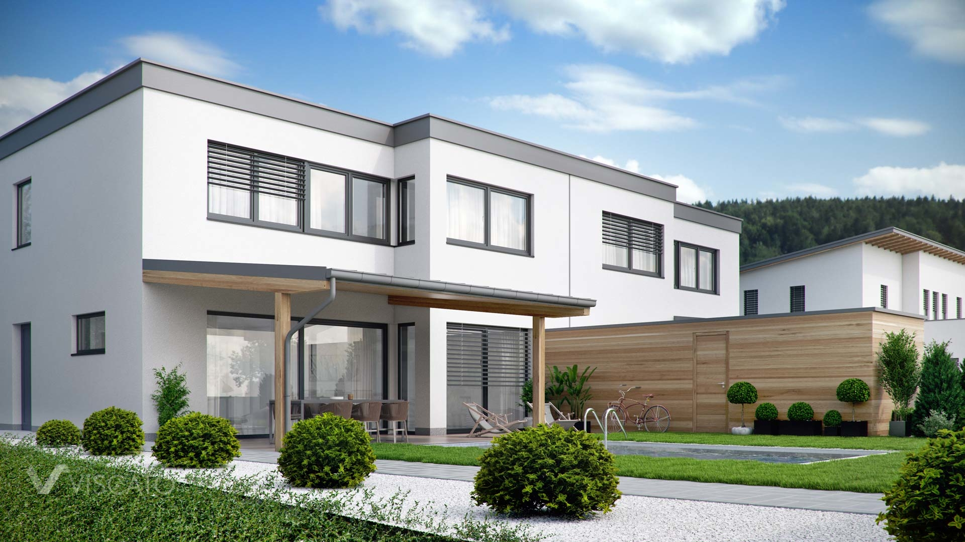 Modern semi-detached house visualization 3D- back view