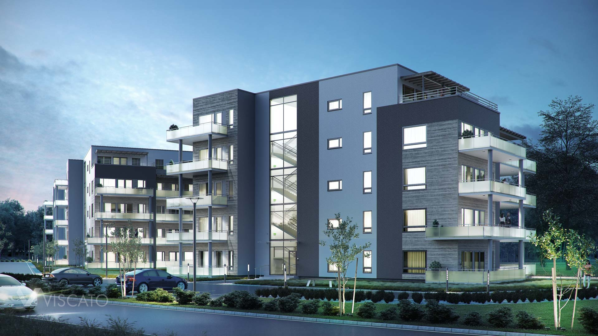 3D rendering of a block of flats in Norway- parking lot view