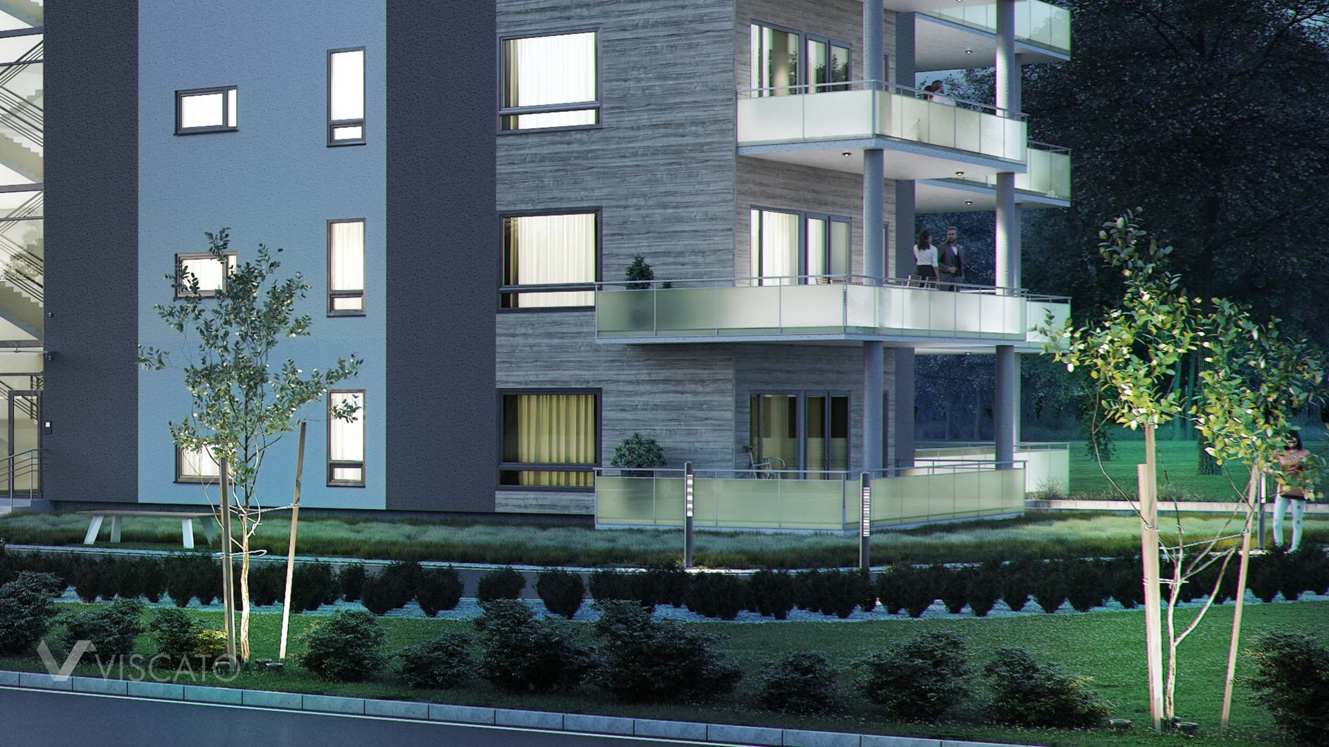3D visualisation of a block of flats in Norway- night view