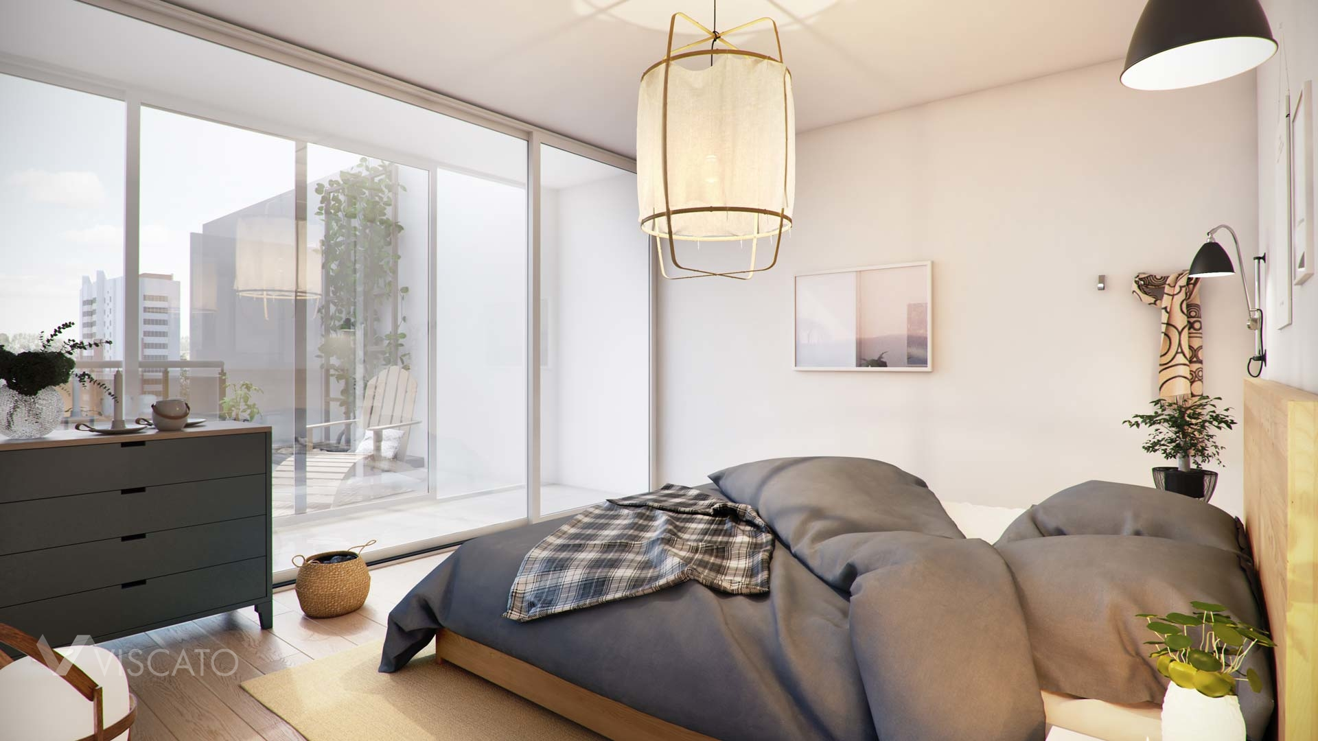 3d visualisation of a bedroom with big windows