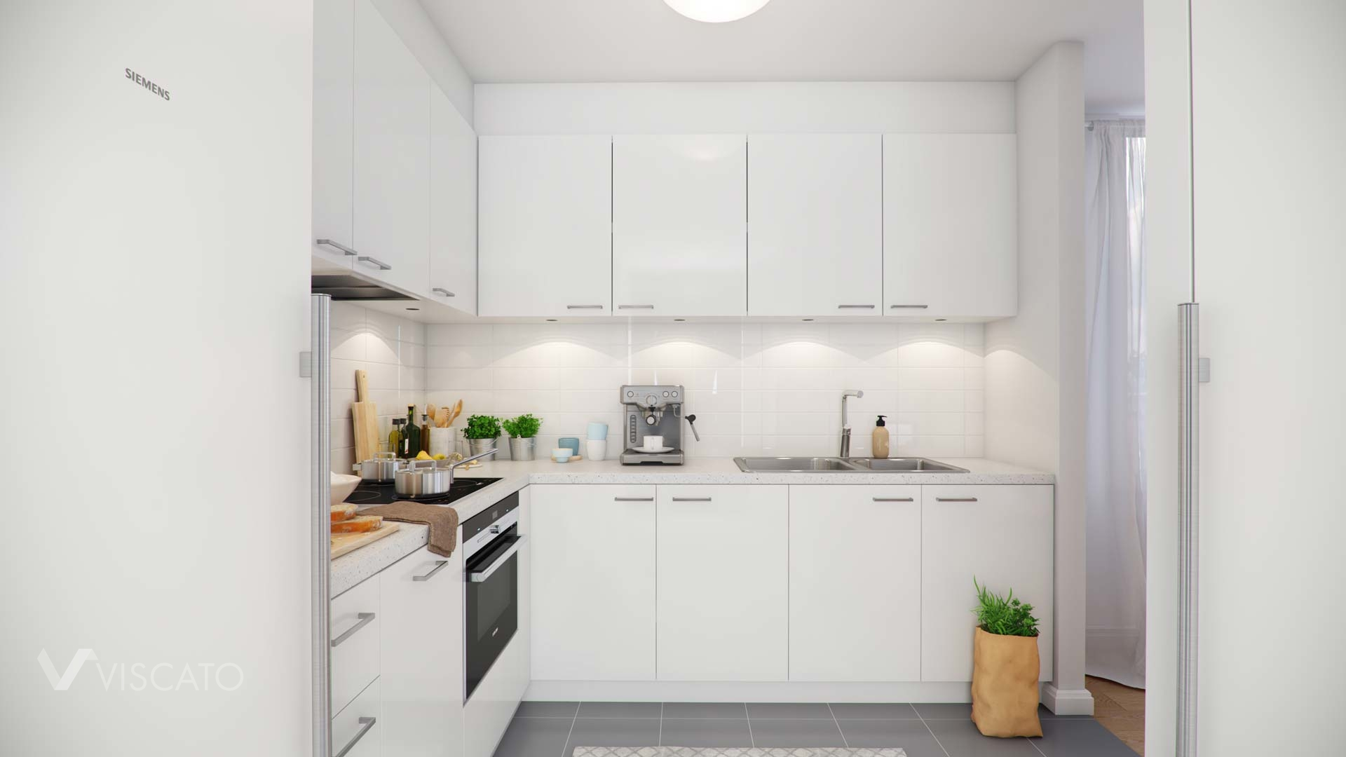 3d visualisation of a kitchen in a modern apartment