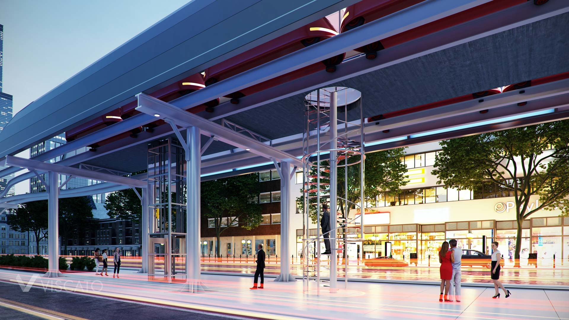 3d visualization of ultra light train stop- entrance