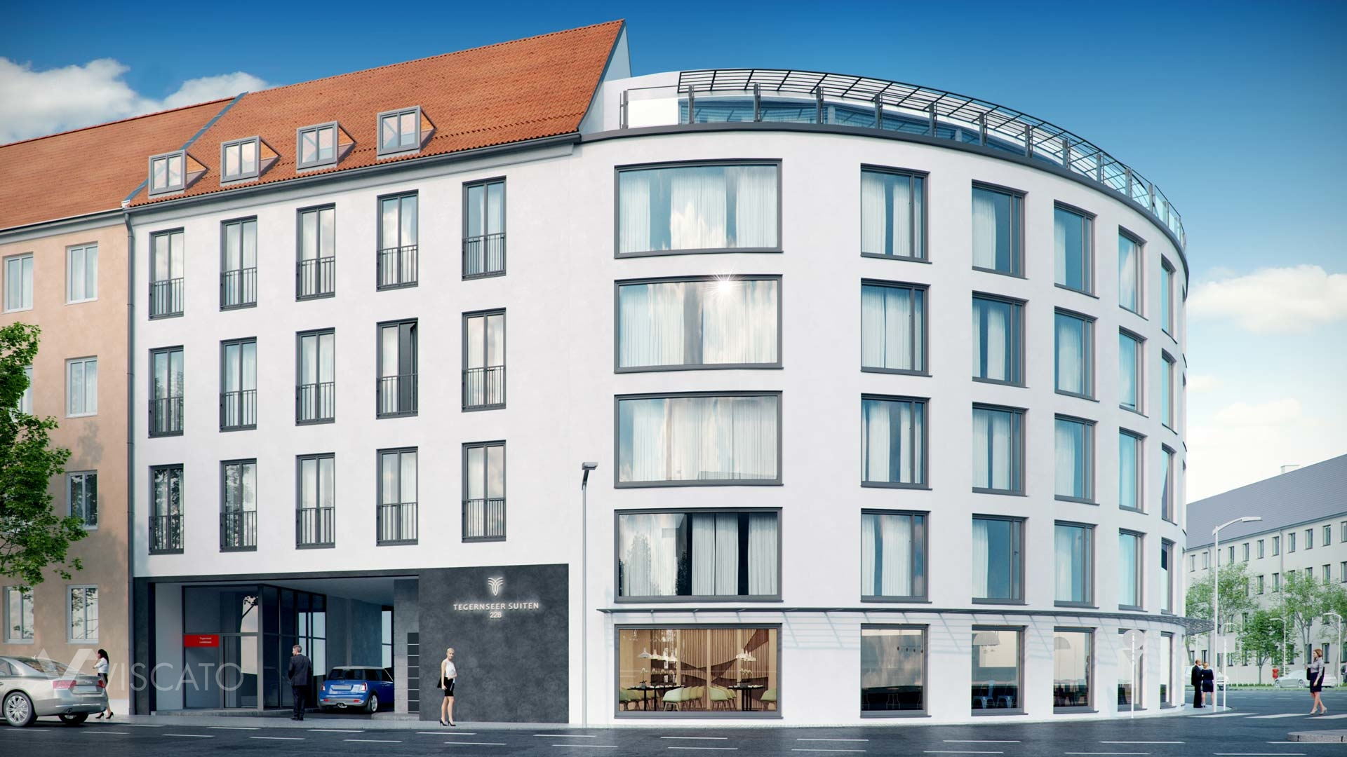 3d visualization of a residential building in Munich- street view