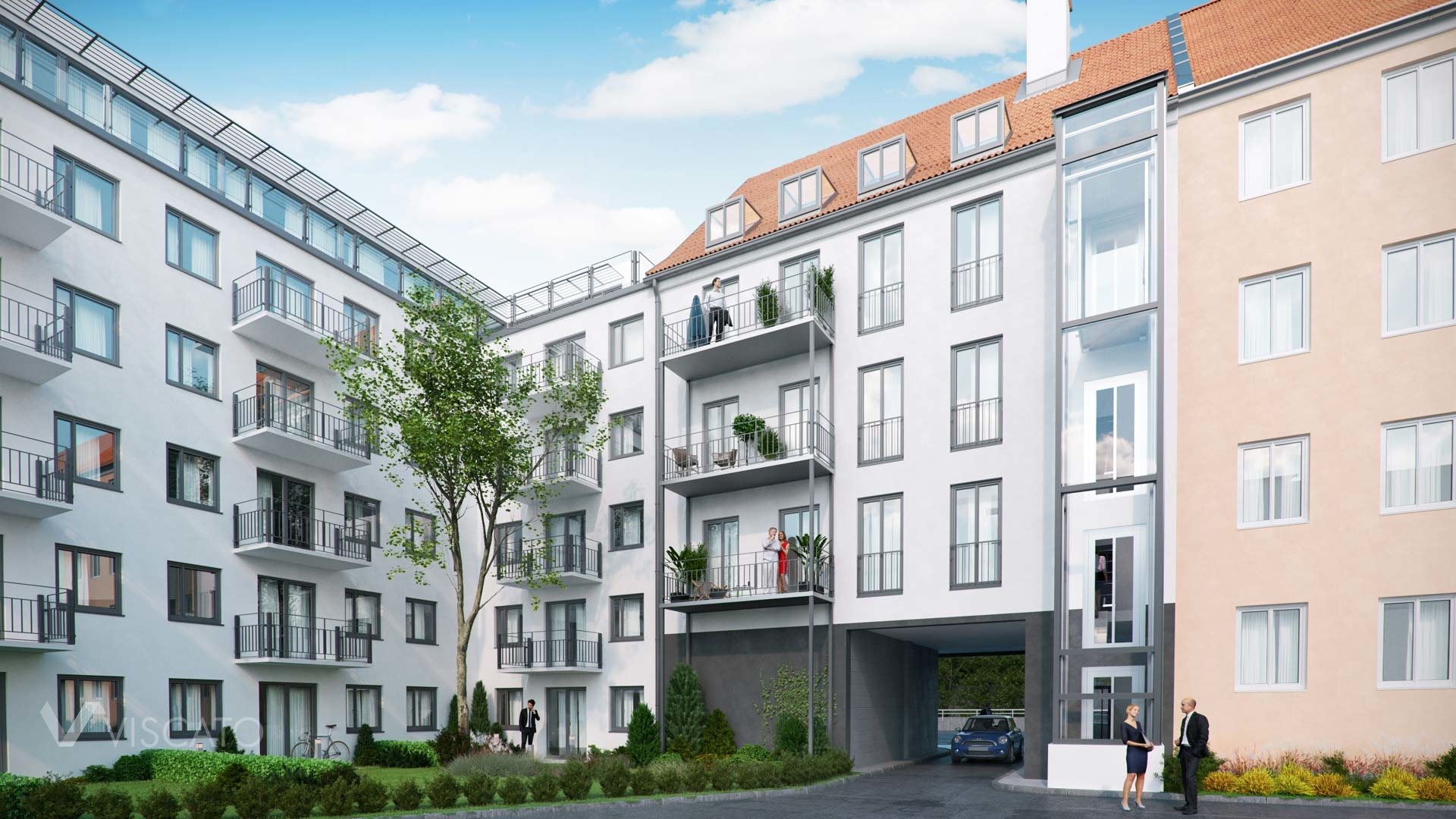3d visualization of a residential building in Munich- backyard view