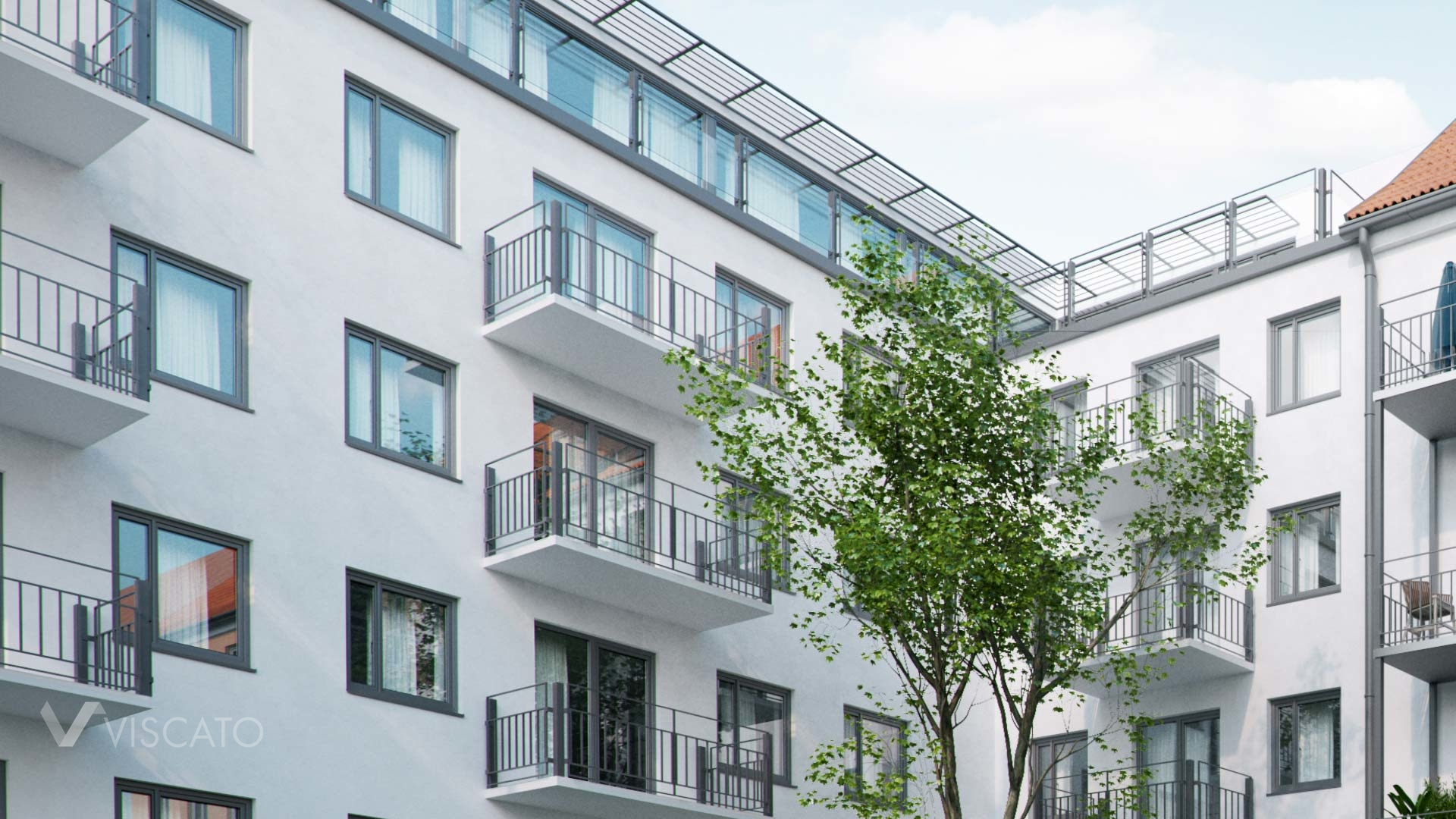 3d rendering of a residential building in Munich- detailed backyard view