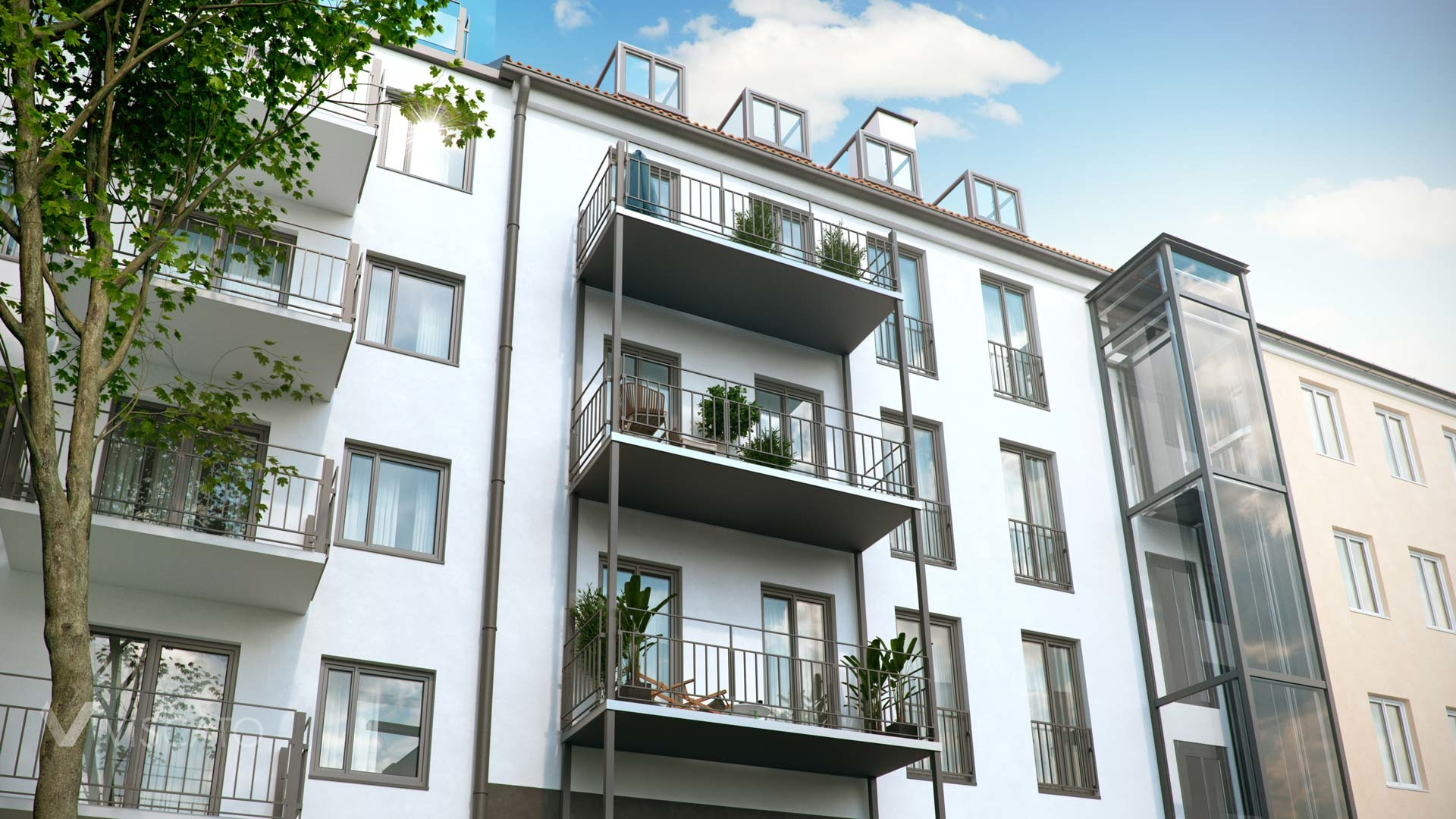 3d rendering of a residential building in Munich- balconies and exterior elevator