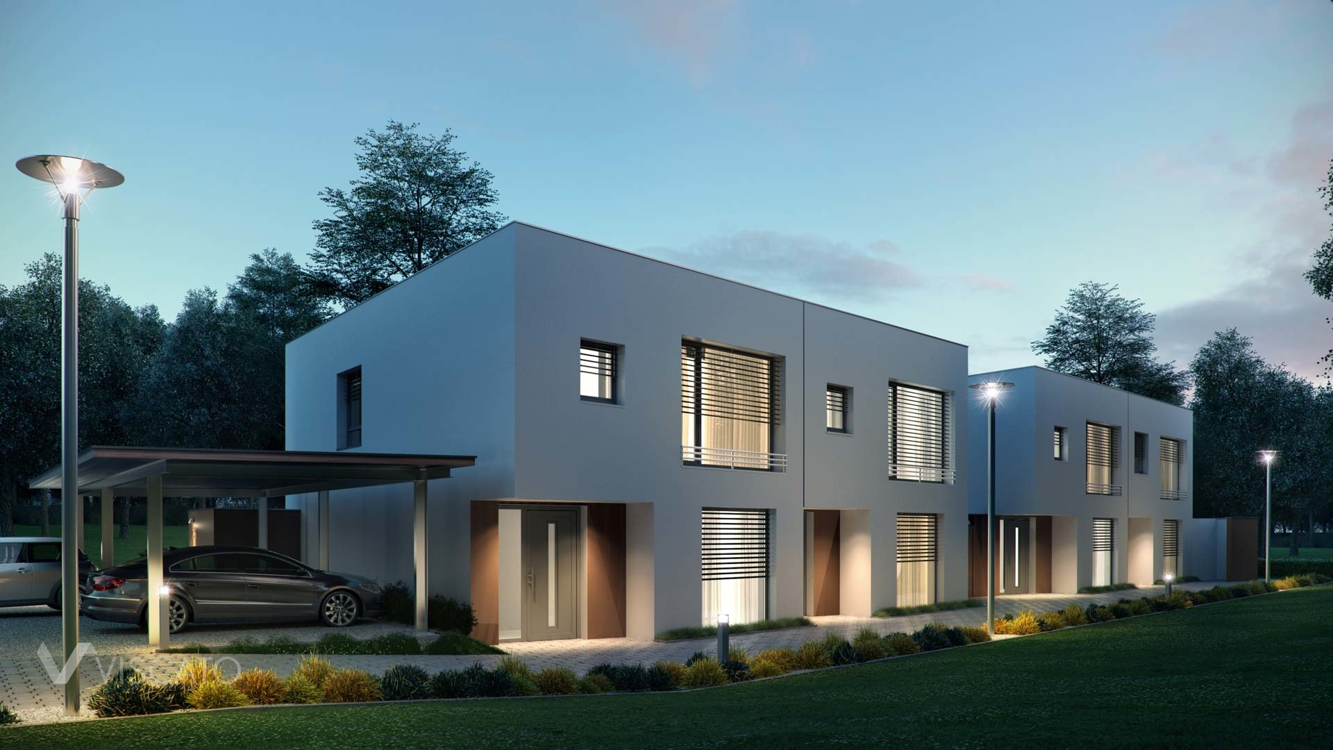 3e exterior visualization of a multi family house in Austria- night view