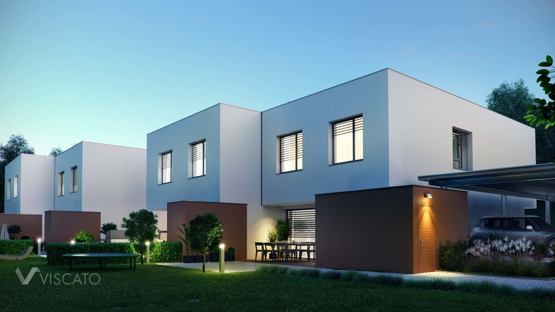 3d architectural visualization of a house- night view