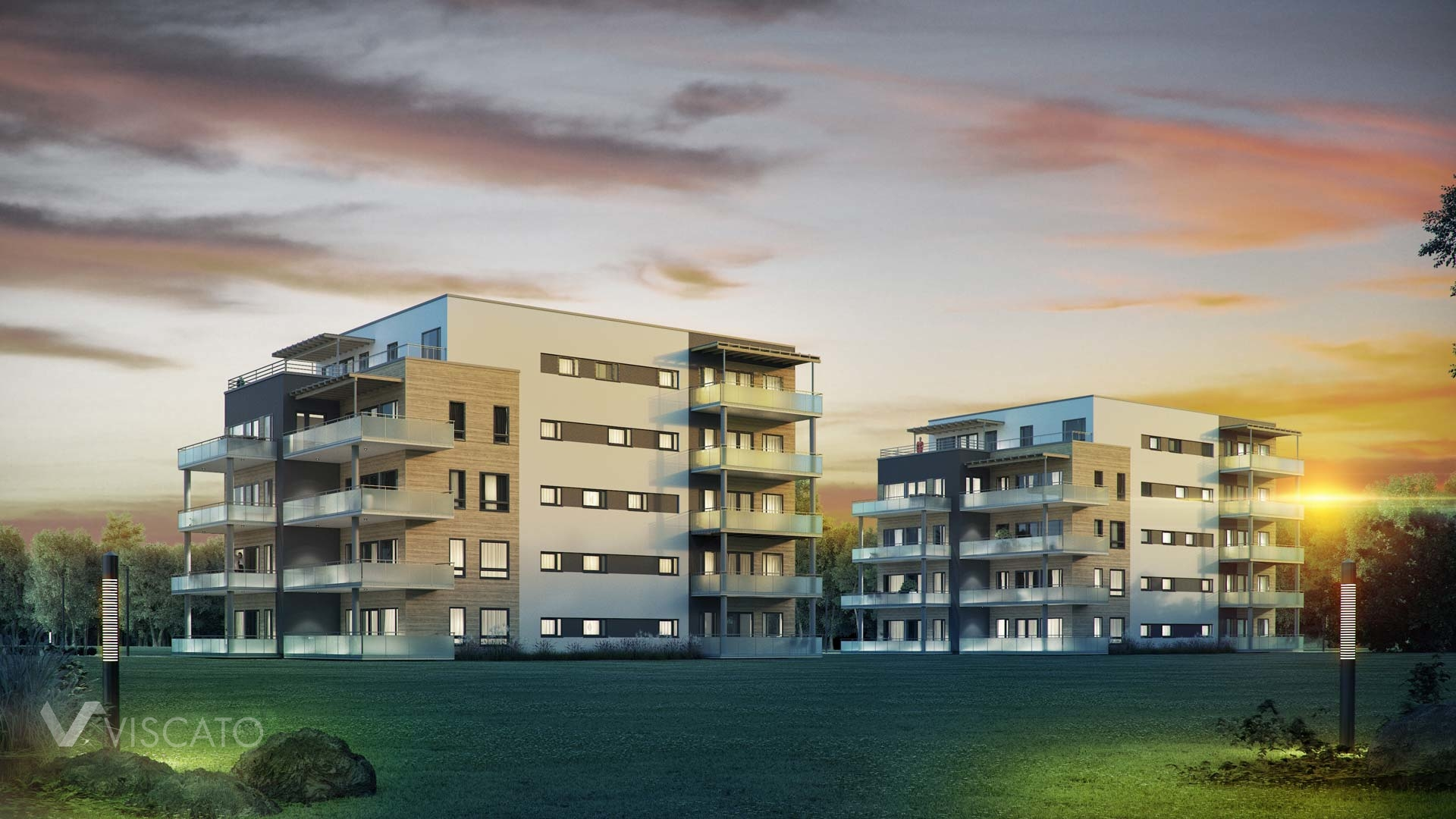 3d architectural visualization of a multi family estate building- golden hour view