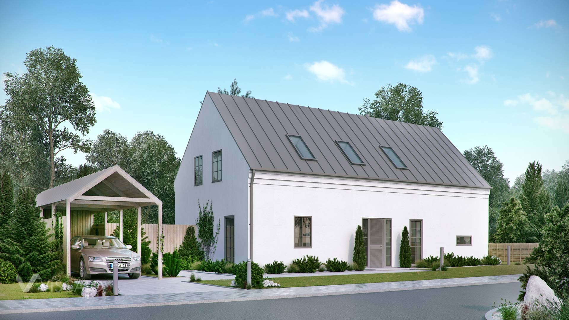architectural visualization of a single family estate in Sweden