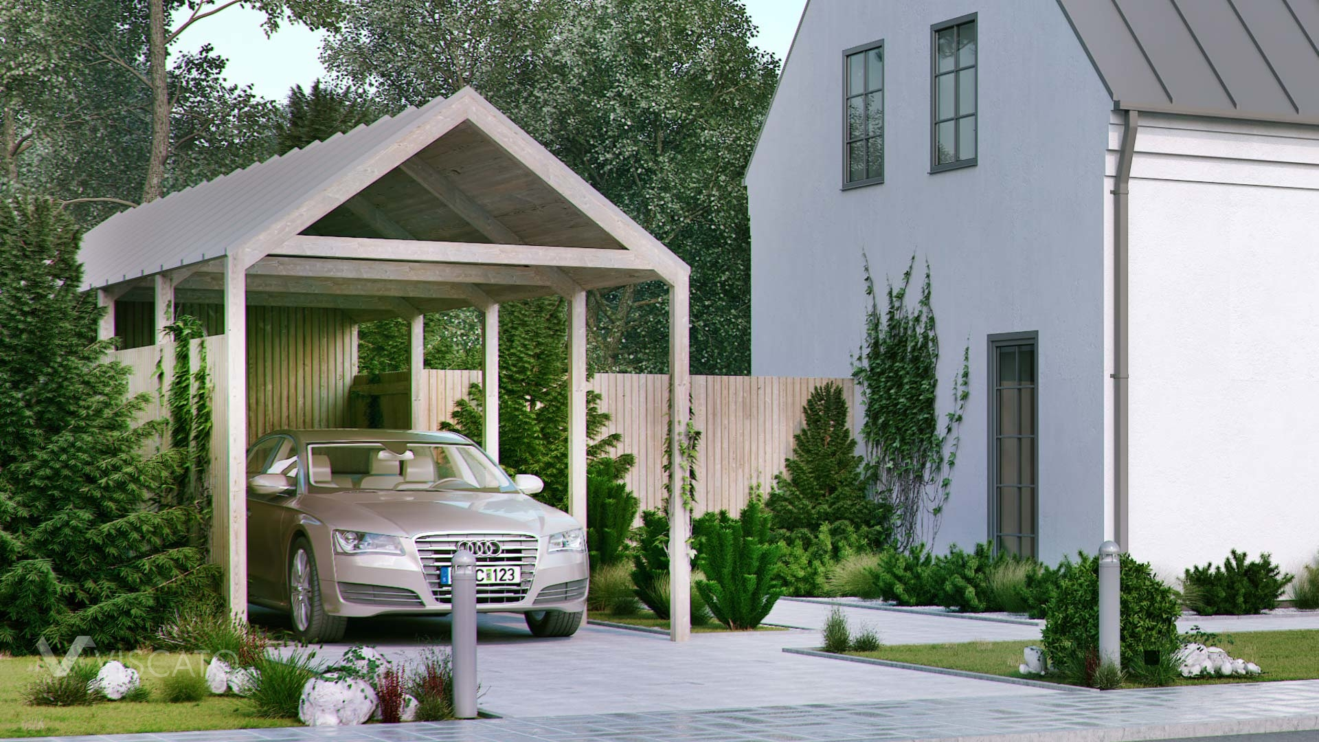 private roofed parking bay- 3D visualization