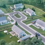 3D visualization a single housing development in Sweden- bird eye view