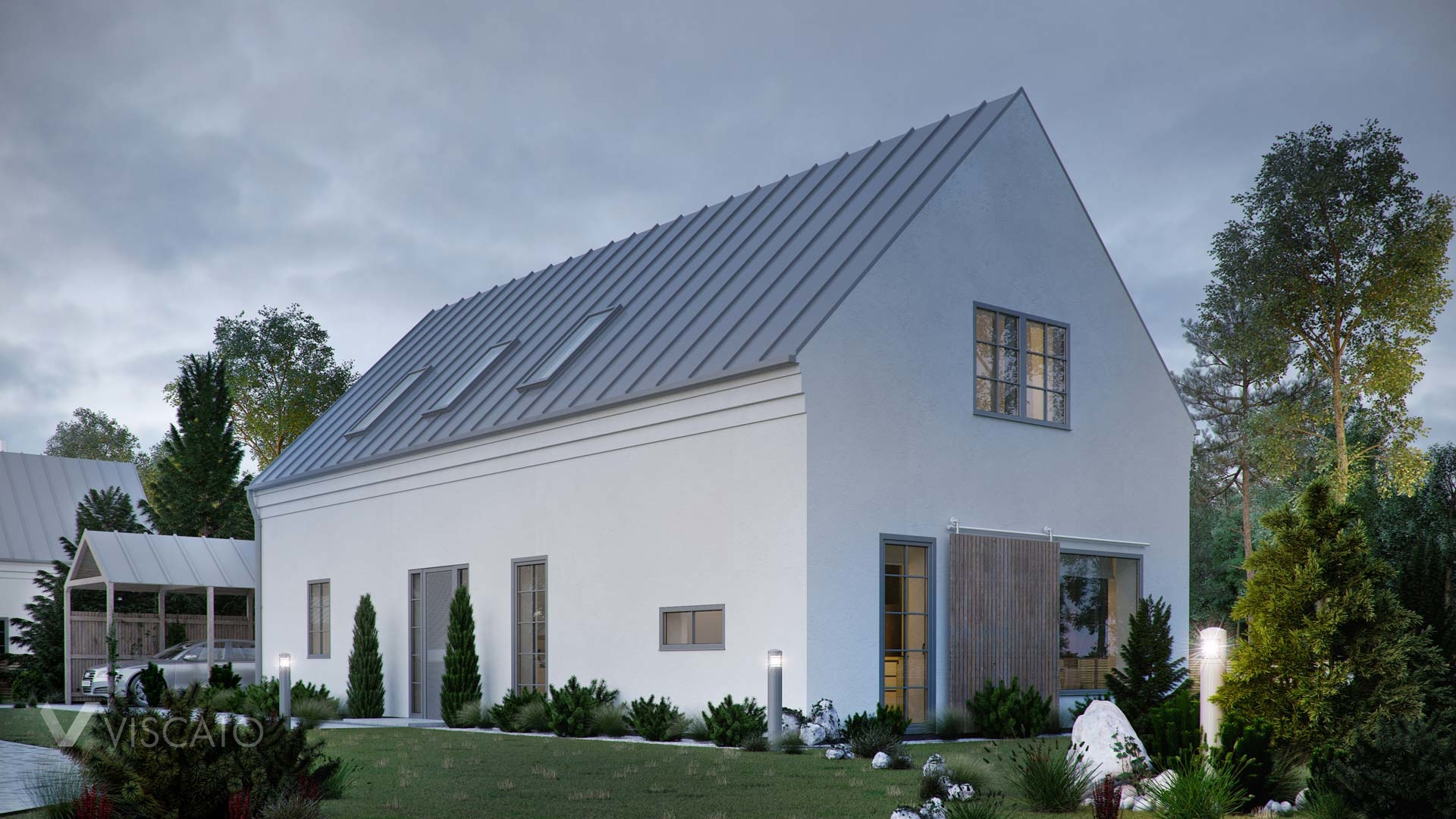 a detached house in Vellinge with a roofed parking bay- 3D rendering