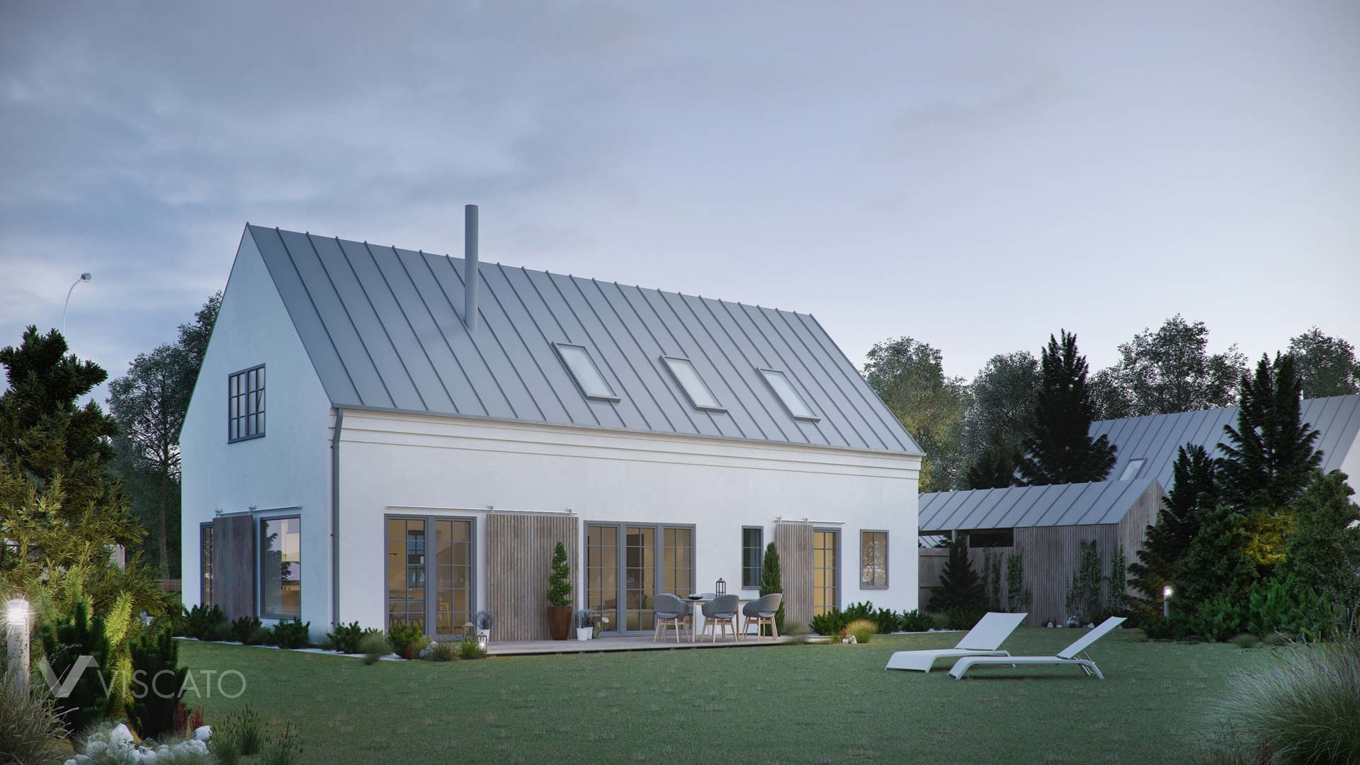 3D visualization of a detached house in Sweden- backyard view