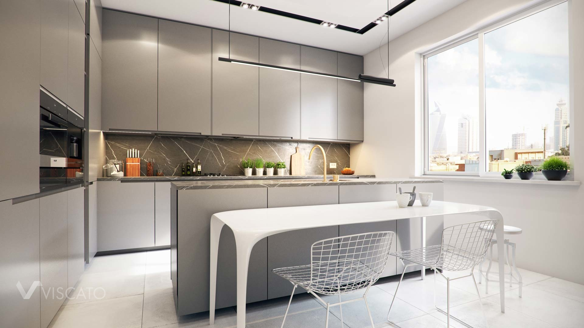 3d renderings of a kitchen with grey furniture