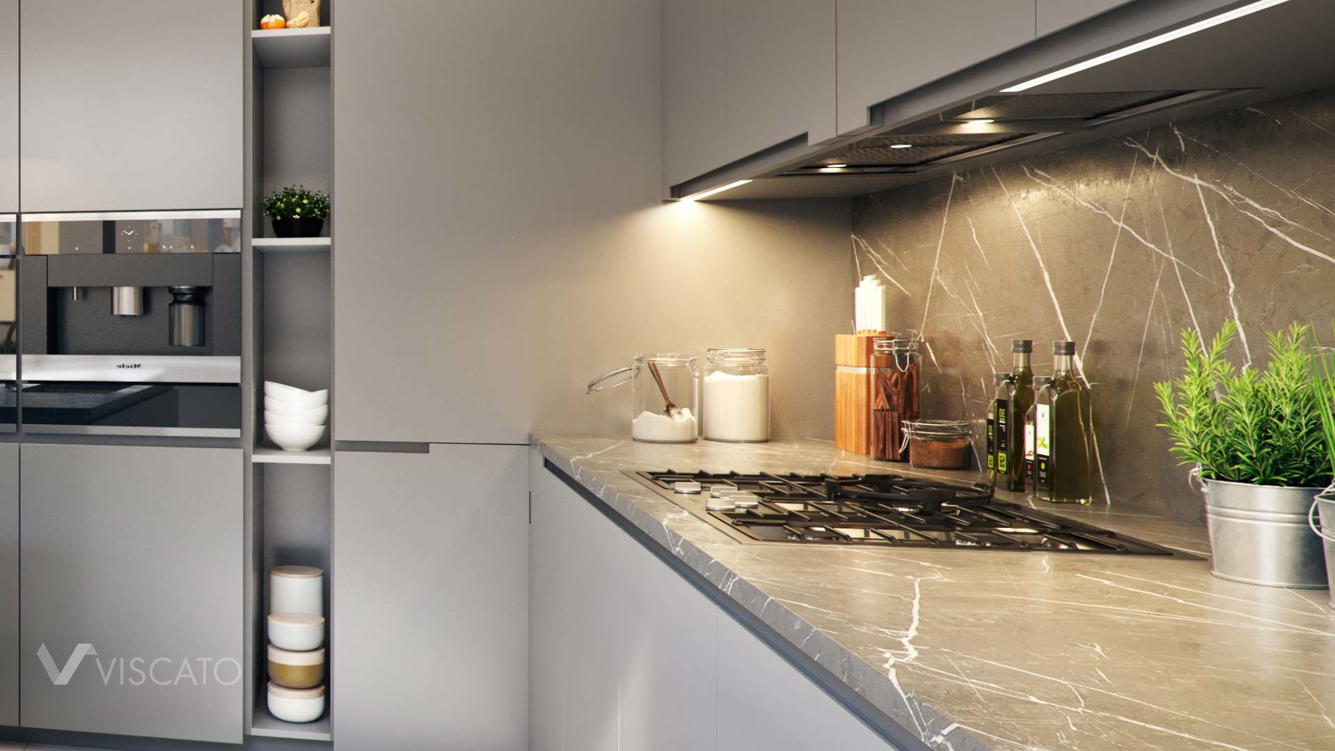 3d interior renders of a kitchen with a marble worktop