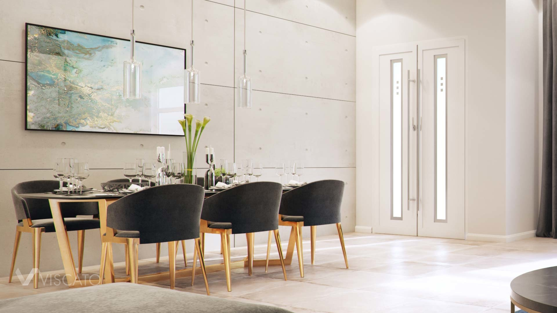 3D interiors, dining room with a concerte wall- Viscato