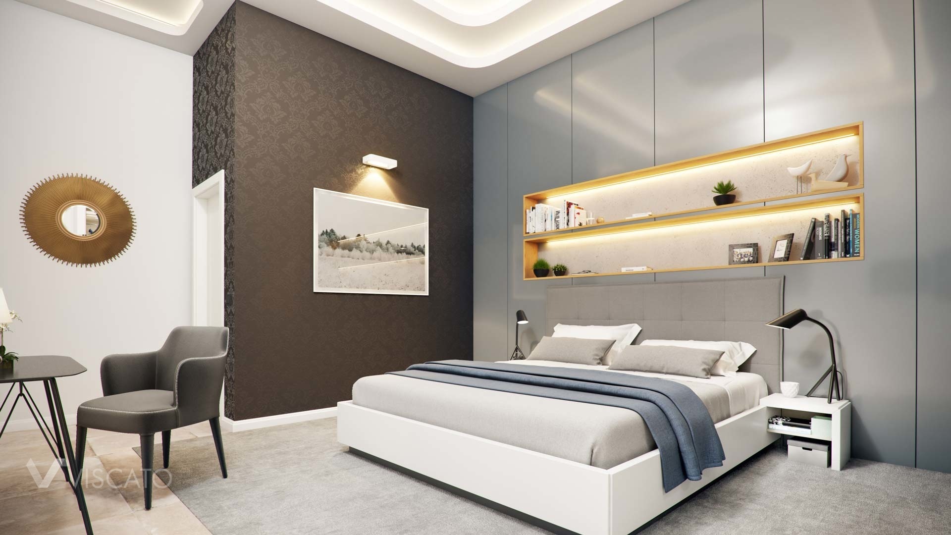 3d interior visualization of a modern bedroom- Viscato