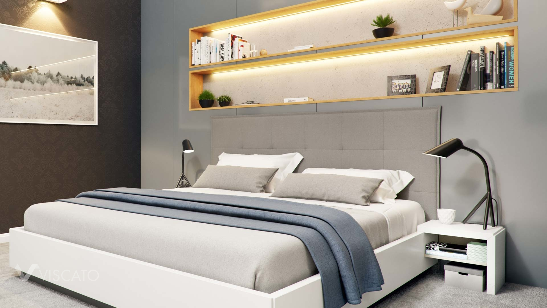 master bedroom in the shaeds of grey- Viscato interior visualization