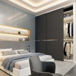 3d rendering of a glamorous bedroom in grey- Viscato 3D