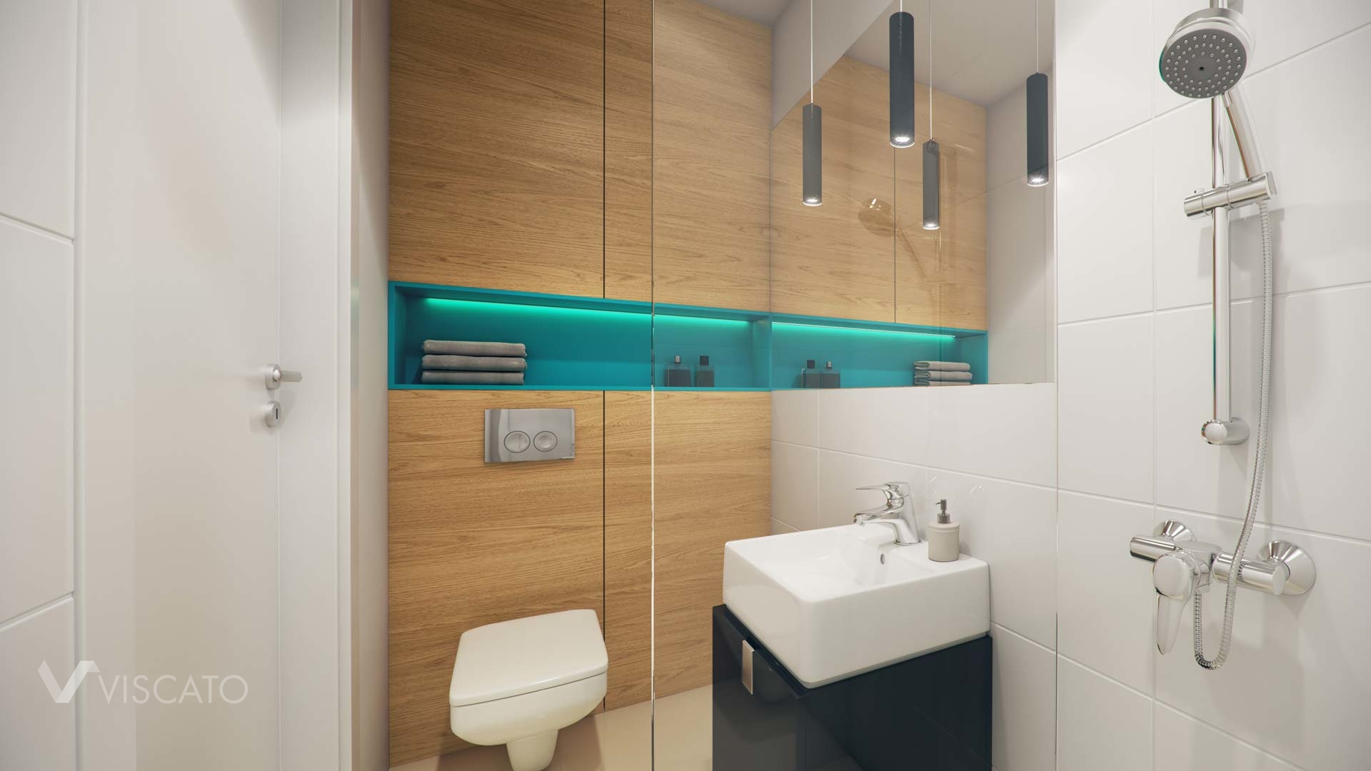 3D vizualization of a bathroom in a micro apartment in Poland- Viscato