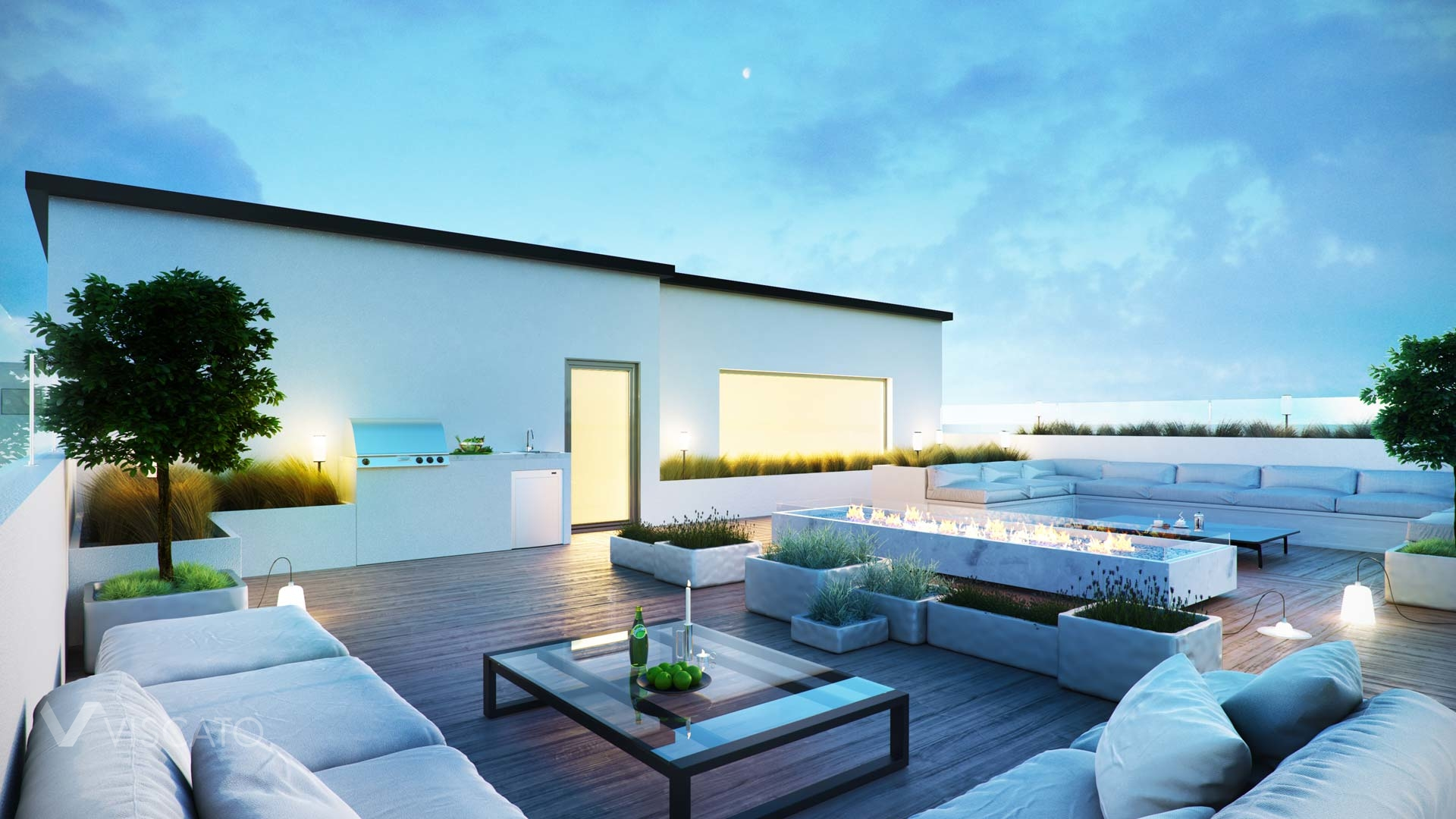 3D visualization of a rooftop terrace in Kuwait- Viscato