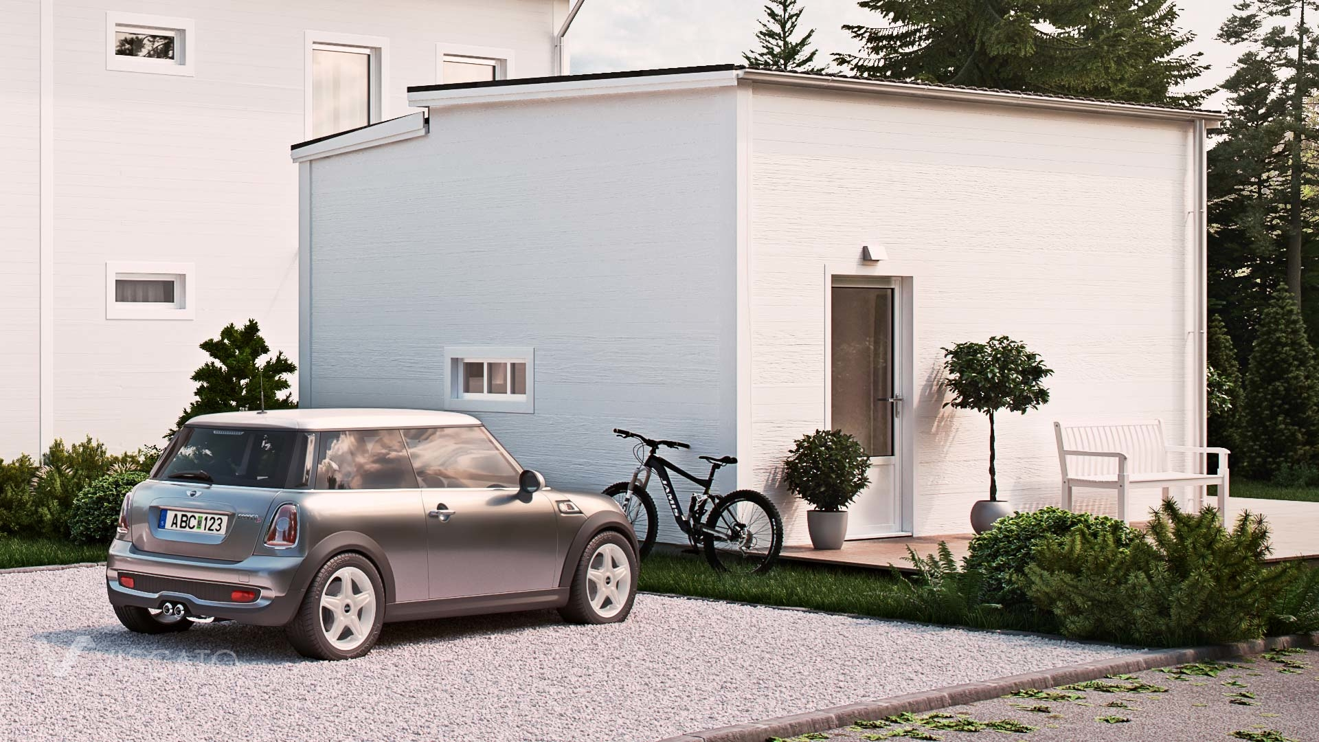 3D rendering of a multi family house with a private parking space
