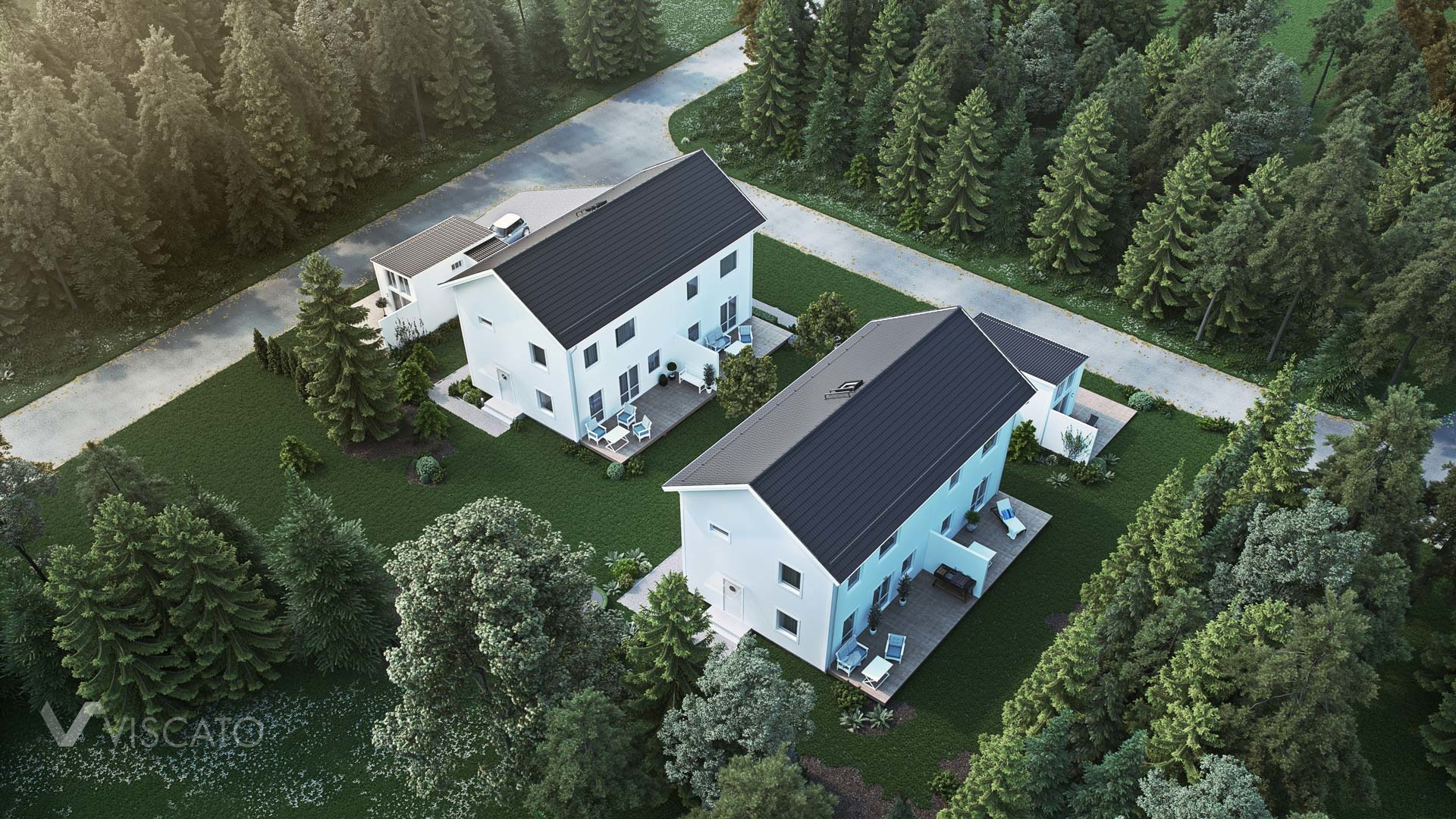 3D visualization of a multi family residentials- bird-eye view