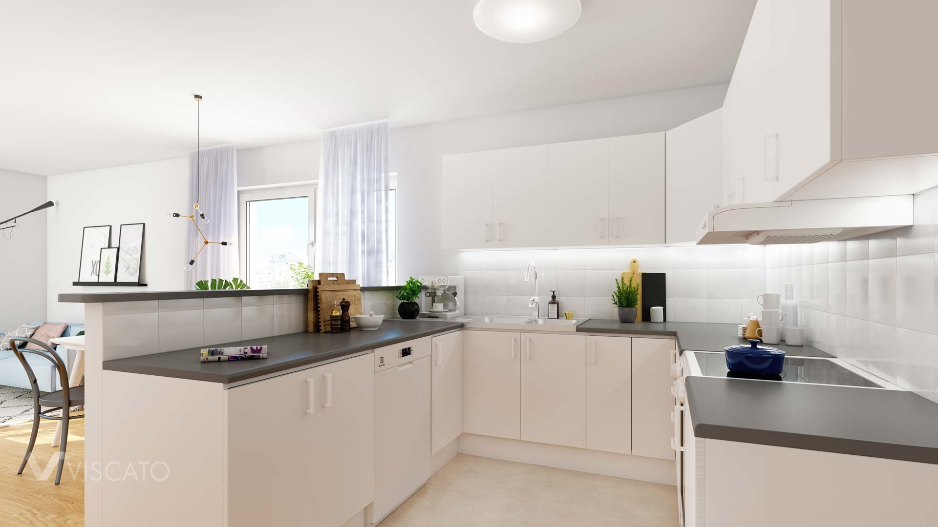 Scandinavian style white kitchen- Viscato 3D visualization