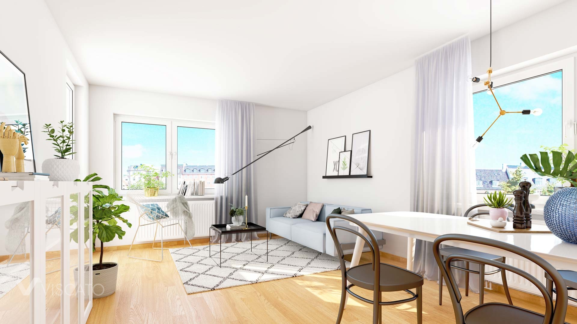 Viscato 3D rendering of a living room in Sweden