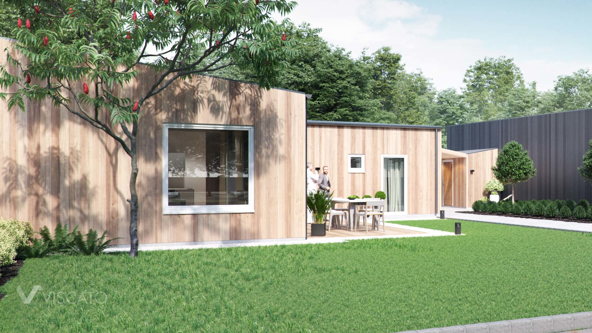 3D exterior rendering of a wooden terraced house- detailed view