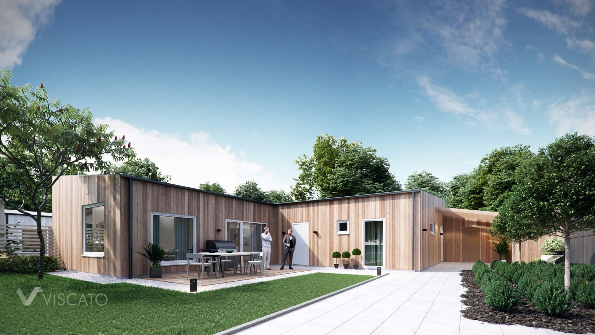 3D architectural vizualization of a house with wooden siding- Viscato