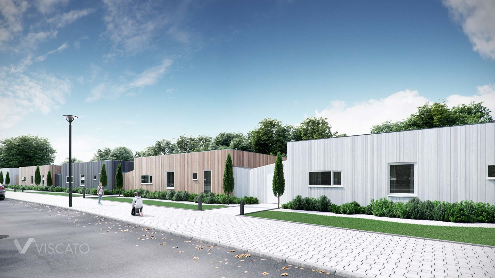 modern terraced houses in Sweden- 3D architectural vizualization