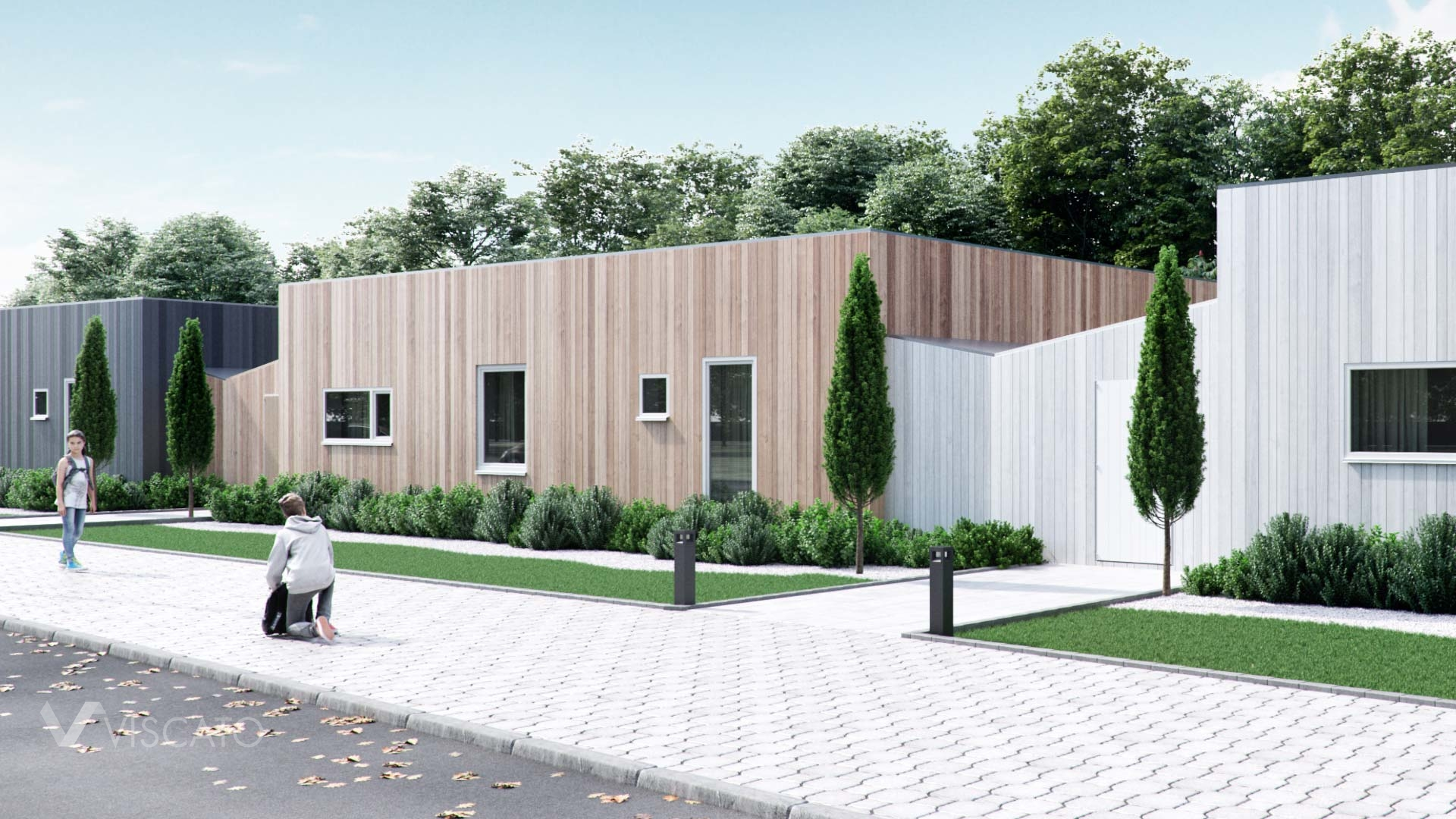 modern terraced houses in Sweden- 3D architectural vizualization - detailed view
