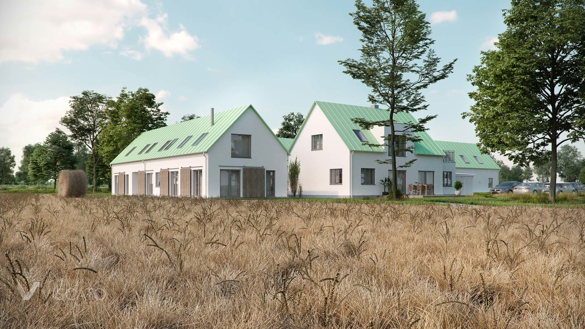 3D exterior visualization of a housing estate in Gessie, Sweden- Viscato