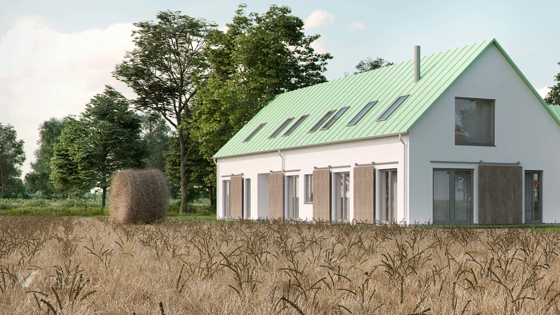3D renders of a housign estate in Sweden- Viscato