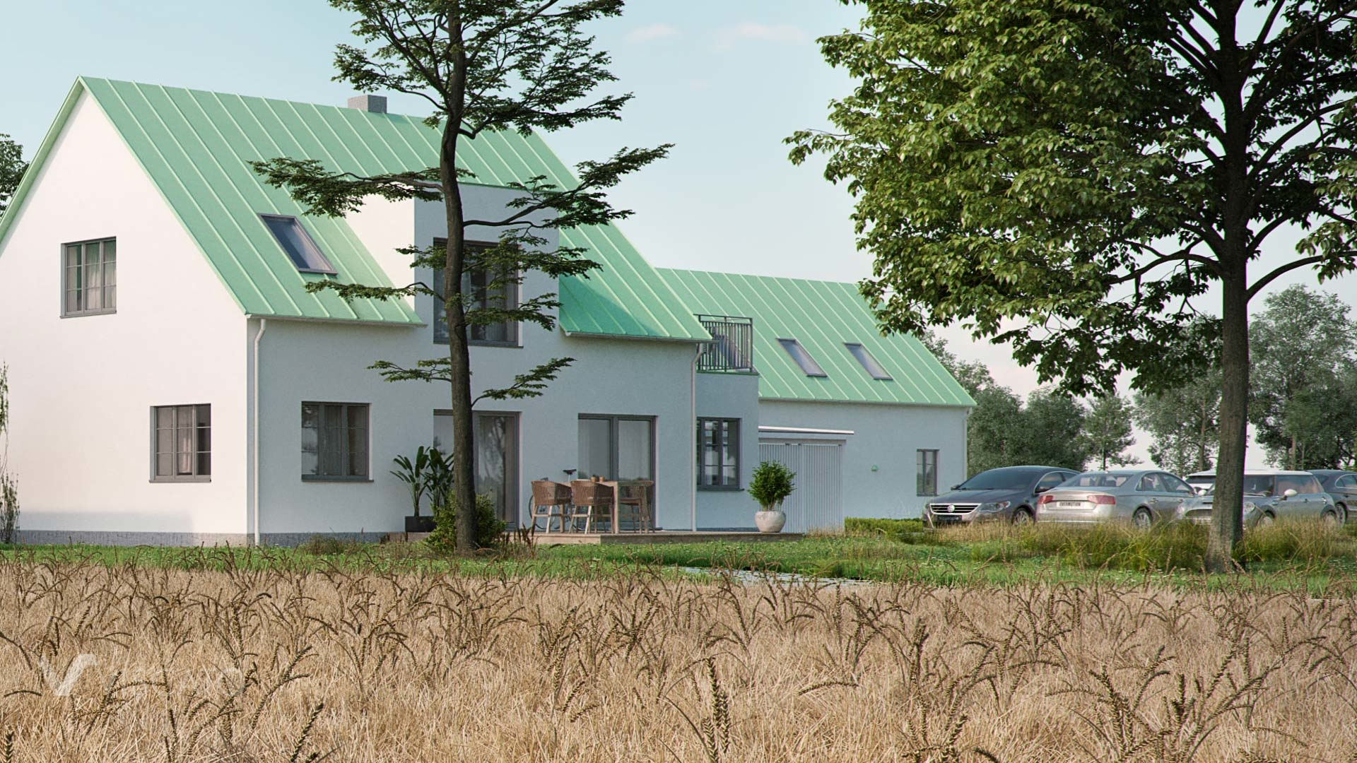 3D architectural render of a detached house and a paring lot- Viscato