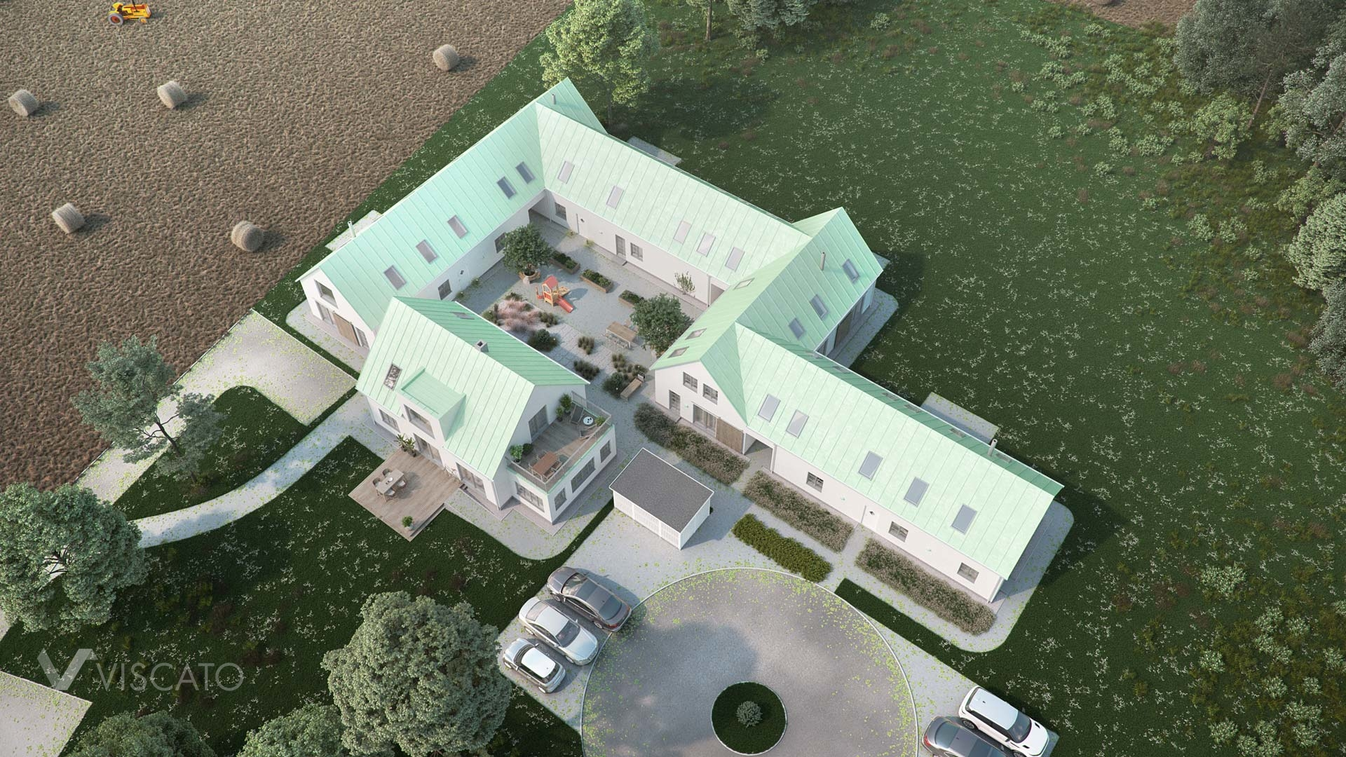 Viscato's 3D architectural visualization of houses in Sweden- bird eye view