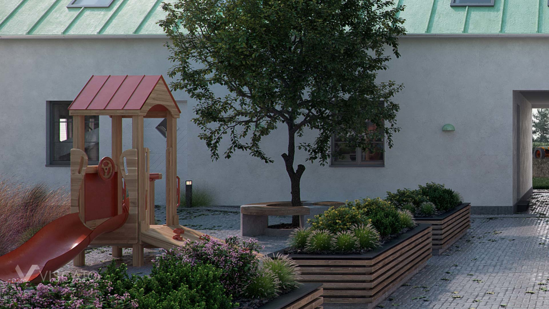 3D visualization of a courtyard with a playground- detailed view