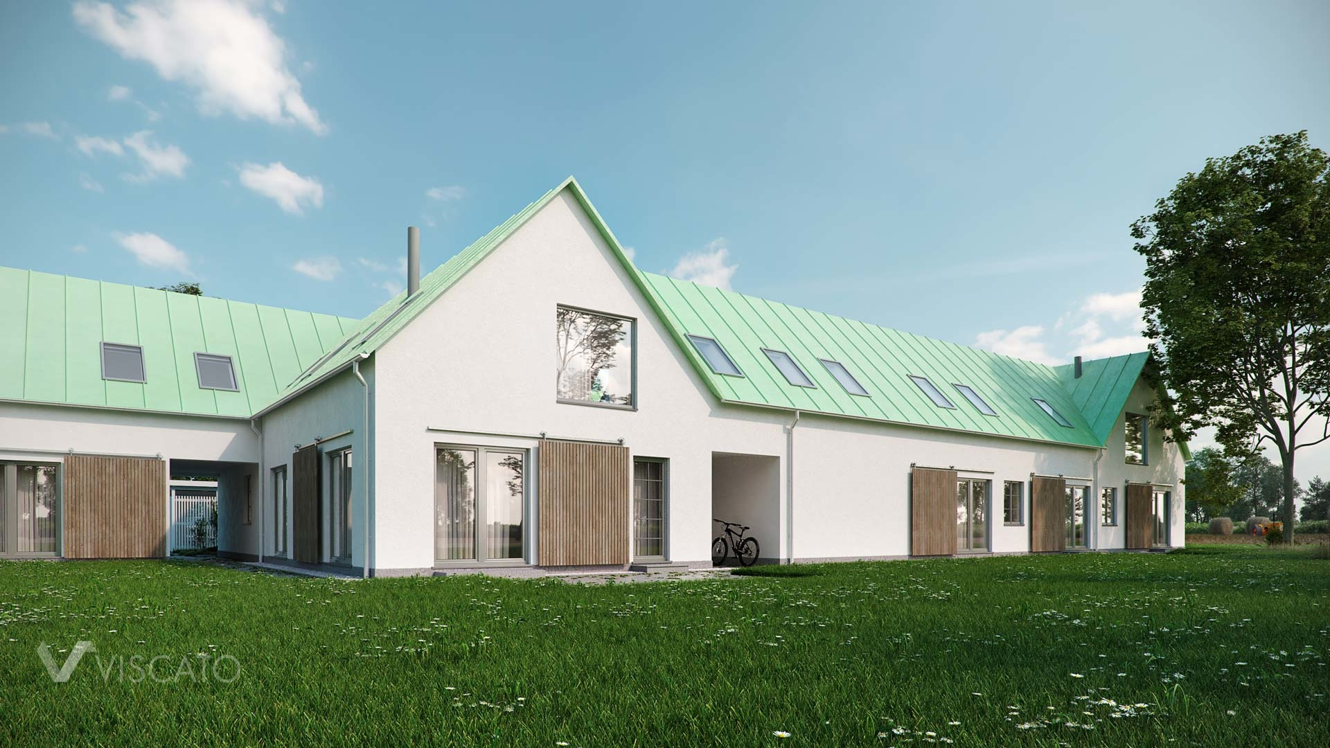 Viscato's 3D renderings of a housing estate- front view