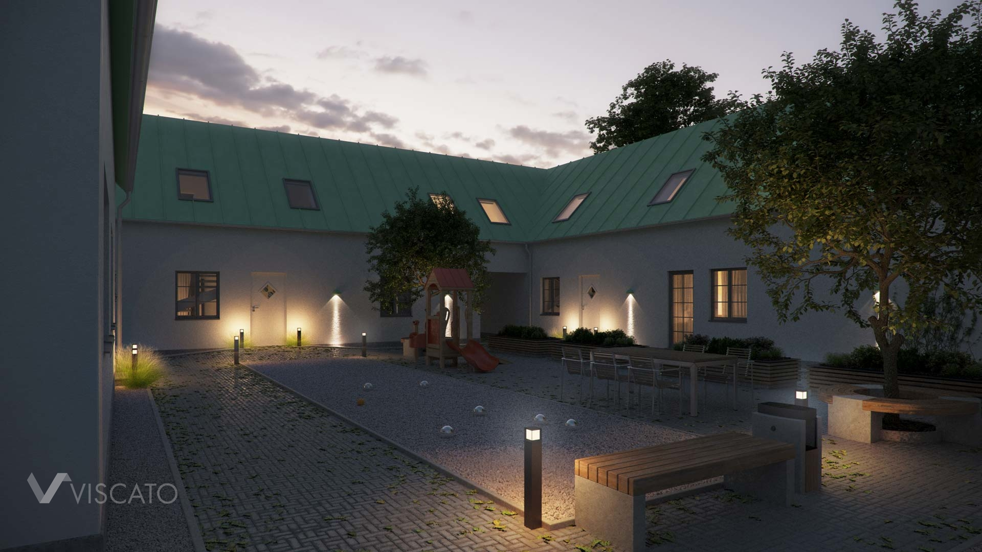 3D visualization of a courtyard with a playground and benches- evening view