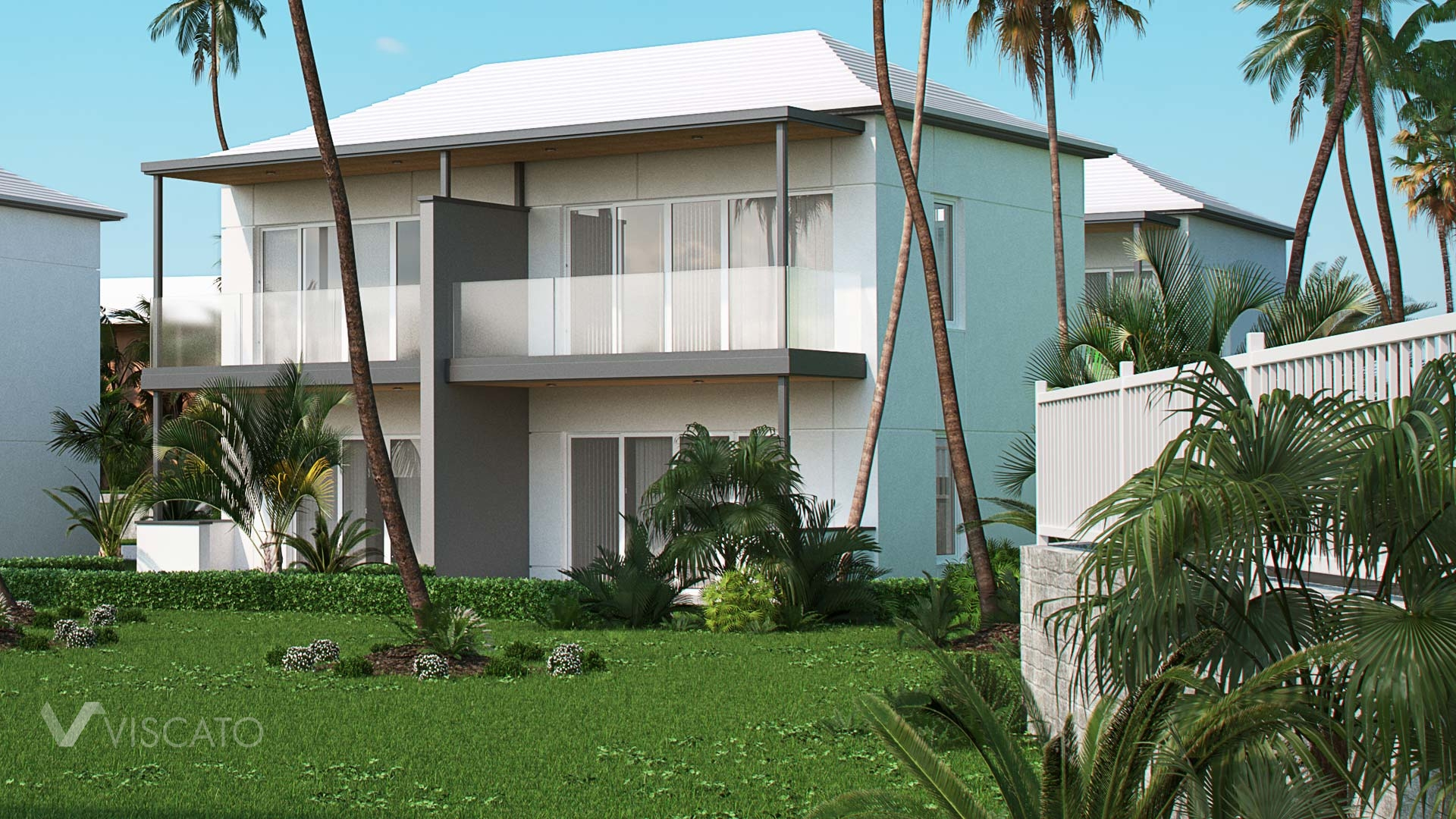 3D renderings of a modern house in Bermuda Islands- Viscato