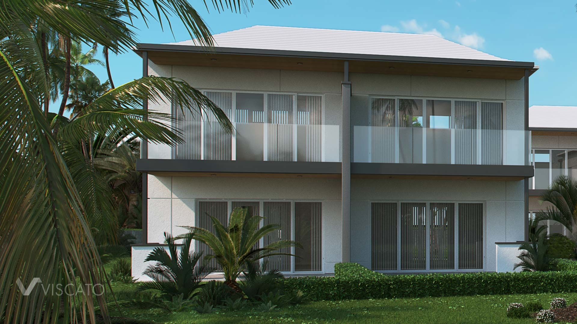 3D exterior visualisation of a semi-detached house in Bermuda- Viscato