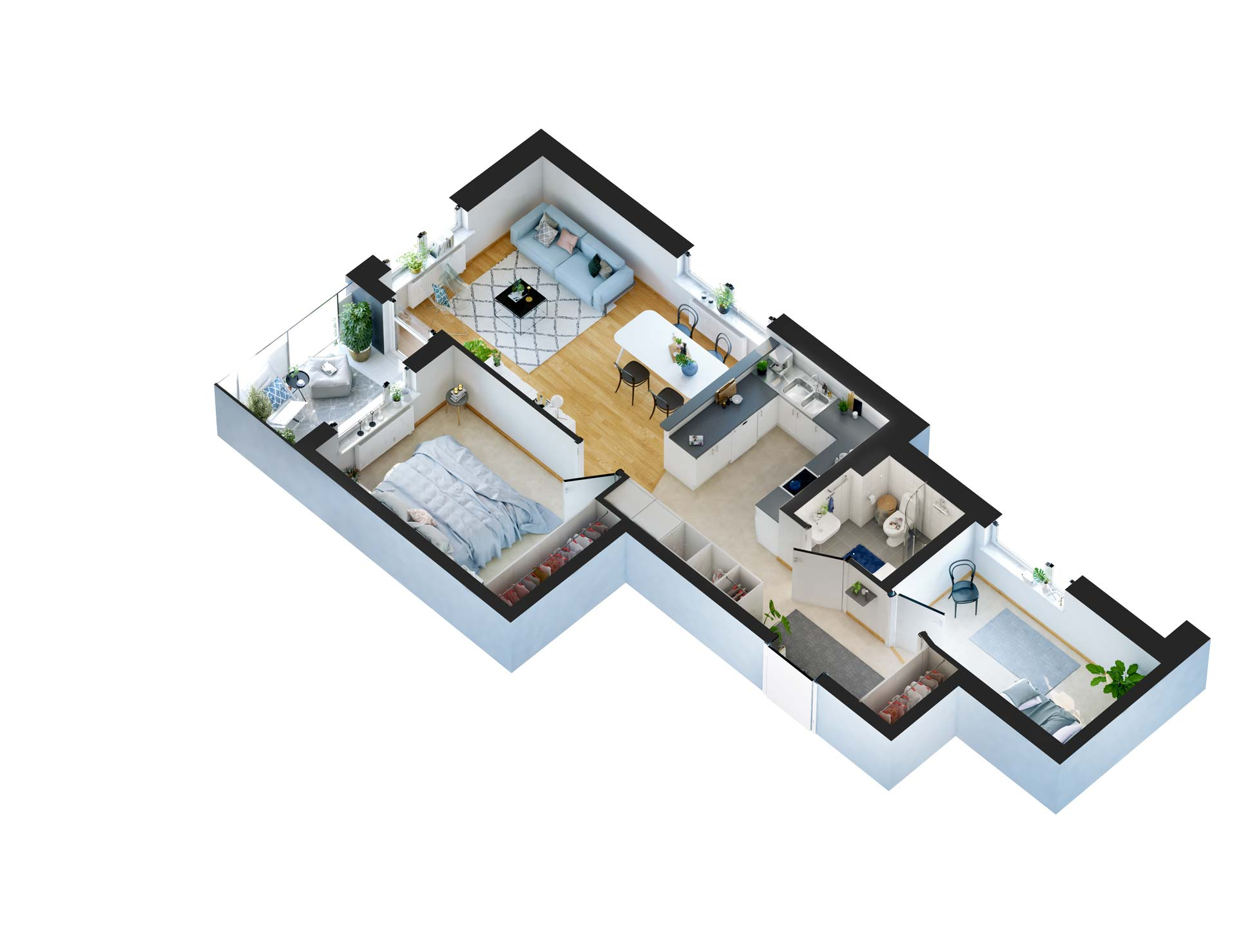 MODERN APARTMENT 3D FLOOR PLAN